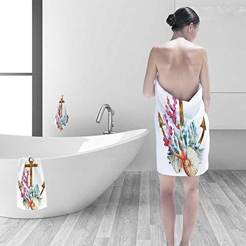 - Printsonne Luxury Elegant Bath Towels Anchor with Corals Seaweed Nature Deep Sea Underwater Life Diving Enjoyment Image Hot Luxury Hotel & Spa Towel