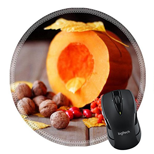 Ash Natural Flooring (MSD Natural Rubber Mousepad Round Mouse Pad 23070501 Autumn scene with a pumpkin and ash)