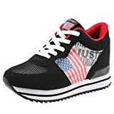 Mysky Women Leisure USA Flag Mesh Breathable Loafers Ladies Brief Thick Platform Increased Comfortable Sneaker Black