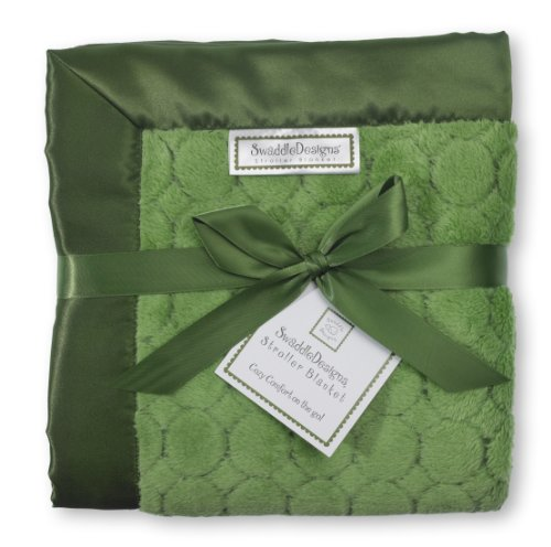 Fleece Satin Baby Blanket (SwaddleDesigns Stroller Blanket, Cozy Micro Fleece Pure Green Puff Circles with Satin Trim)