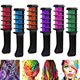 Richoose Disposable Instant Hair Color Chalk Comb Hair dye Long Lasting Temporary Shimmer Hair Color Cream for Party Fans Cosplay DIY 6PCS