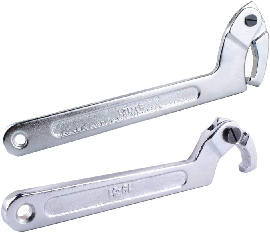 """Wadoy Adjustable C Spanner Hook Wrench Chrome Vanadium 3/4-2""""(19-51Mm)+2-4 3/4""""(51-121Mm) Spanner Set-Used to Tighten Side Slot Nuts on Collars, Lock Nuts and Bearings"""