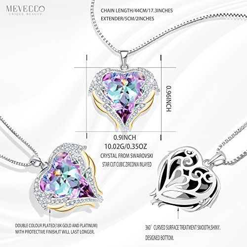 Mevecco ''Heart Of the Ocean'' Heart Pendant Necklace Made with Swarovski Crystals-NK10-Vol Light by Mevecco (Image #1)