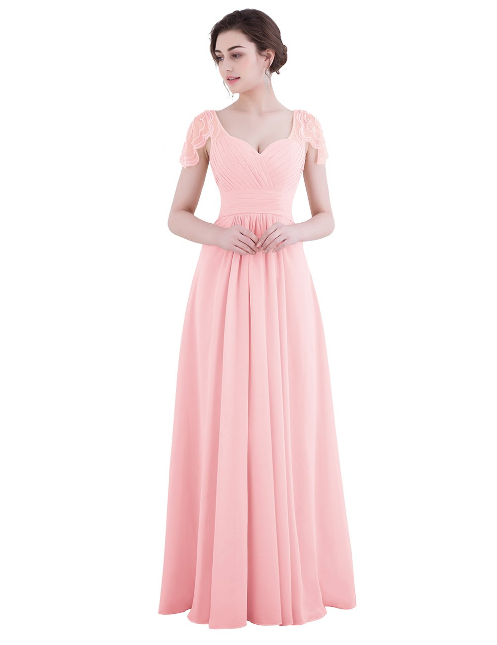 Dresstell レディーズ ロング丈 お呼ばれ フォーマルドレス 結婚式ドレス ビーズ付き ふんわりシフォン ビスチェタイプ 花嫁ワンピース 二次会ドレス キャップ袖 披露宴ドレス B06ZXXT9X1 JP23W|ピンク ピンク JP23W