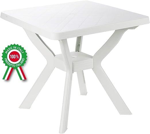 Mesa cuadrada de resina de plástico blanco para exterior, jardín, bar, camping, balcón: Amazon.es: Jardín