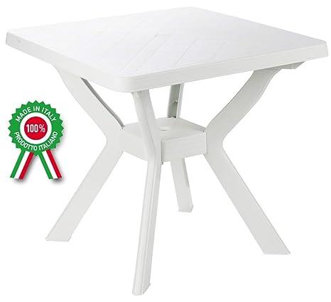 Tavoli Di Plastica Giardino.Tavolo Tavolino Quadrato In Resina Di Plastica Bianco Per Esterno