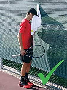 QBE$T Tennis Towel with Hook, Stays Clean, Cotton, Super Absorbent, can be Hung, with Clip, White