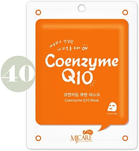 Pack of 40, The Elixir Beauty Korean Cosmetics MJ On Collagen Essence Full Face Facial Mask Sheet, Coenzyme Q10 Essence