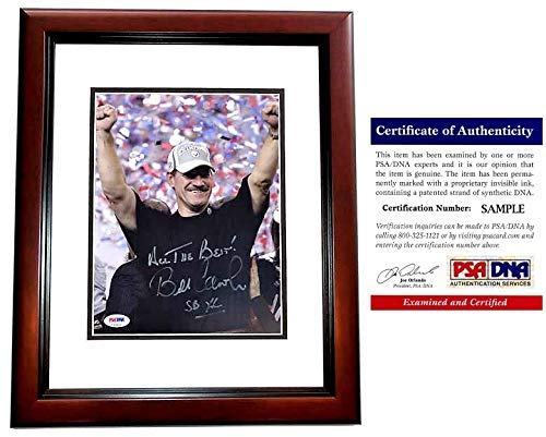 (Bill Cowher Signed - Autographed Pittsburgh Steelers 8x10 inch Photo with Super Bowl inscription MAHOGANY CUSTOM FRAME with PSA/DNA Certificate of Authenticity (COA))