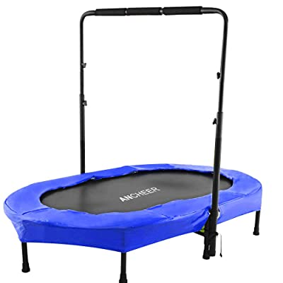 ANCHEER Mini Rebounder Trampoline with Adjustable Handle for Two Kids, Parent-Child Twins Trampoline Max Load 220lbs, Foldable Trampoline Exercise Trampoline for Indoor/Garden/Workout Cardio : Sports & Outdoors