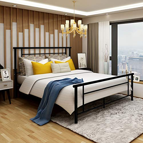 Metal Bed Frame Iron Decor Steel Queen Size with Headboard and Footboard Platform Base Legs Slats Black 633 (Queen) (Bed Iron Queen Frame Cast)