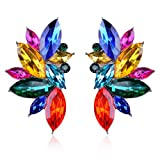 Ginasy Luxury Leaves Shape Glass Cluster Crystal Teardrop Flower Design Stud Earrings (Colorful)