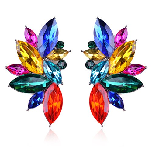 Ginasy Luxury Leaves Shape Glass Cluster Crystal Teardrop Flower Design Stud Earrings (Colorful) (Teardrop Cluster Earrings)