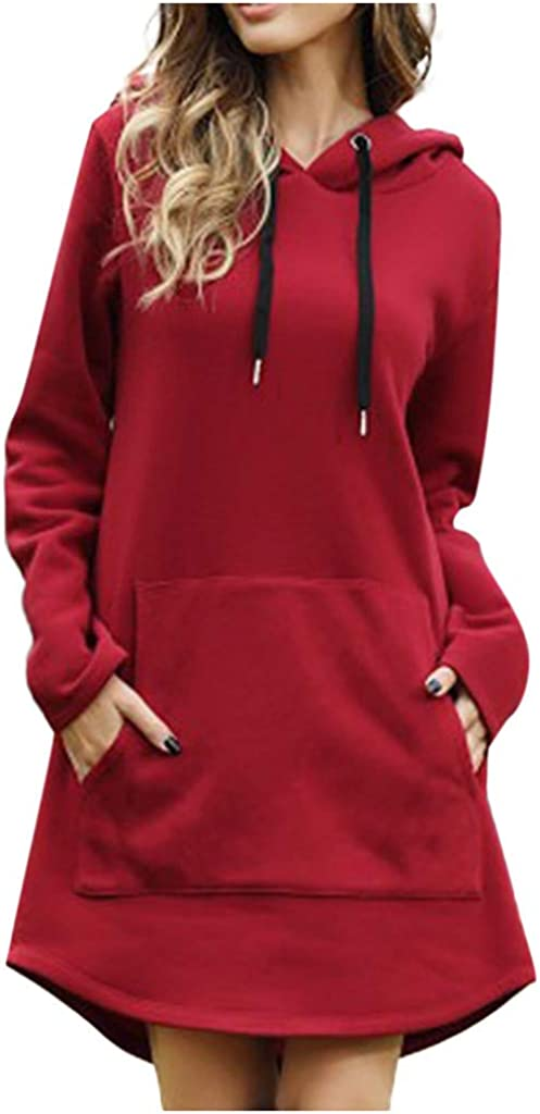 HebeTop Women's Hoodie Long Tunic Dress Solid Pullover Loose Sweater Hoodie Sweatshirt Long Tops 519z9tprWmL