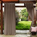 PONY DANCE Outdoor Blackout Curtains – Garden Decor Drapes Energy Efficient Tab Top Black Out Window Drapery Light Block for Porch Gazebo, Mocha, 52 x 84 Inch, Set of 1 Review