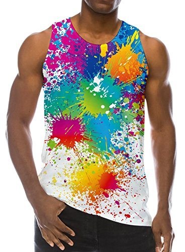 Loveternal Youth Graphic Tank Tops 3D Colorful Paint Doodle All Over Spray Printed Graffic Splash Gym Tank Top Workout DJ Muscle Sleeveless T-Shirts Cool Novelty Mens Tees S