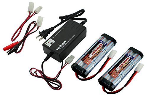 Tenergy 7.2V Battery Pack for RC Car, 3800mAh NiMH Flat Battery Packs 2-Pack w/Standard Tamiya Connector+6V-12V Universal Battery Charger for NiMH/NiCd Battery Packs for RC Hobbies, Airsoft ()