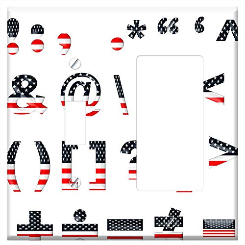 1-Toggle 1-Rocker/GFCI Combination Wall Plate Cover - Stars Stripes Font Template Patriotic Usa Ame