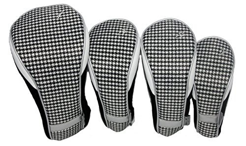 Taboo Fashions 4-Pack Designer Golf Club Cover Head Cover Set (Timeless Noir)