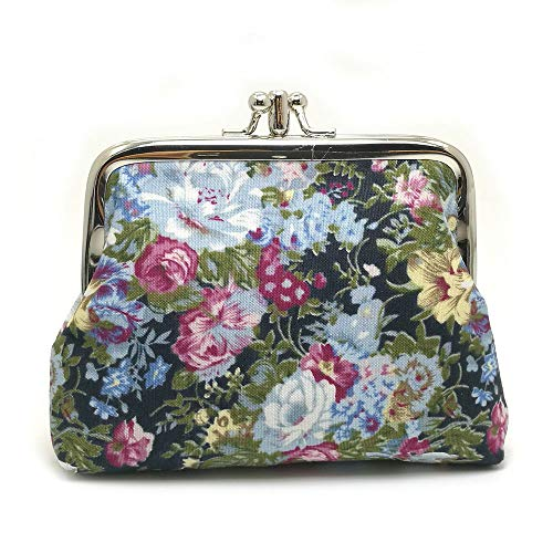 Lavogel Women's Cute Floral Buckle Coin Purses Retro Change Purse Wallets Credit Cards Pouch - Coin Lock Purse