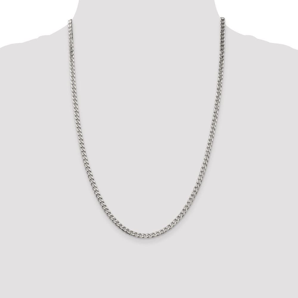 Solid 925 Sterling Silver Polished 3.7mm Curb Link Cuban Chain Necklace
