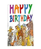 Interestlee Fleece Throw Blanket Birthday Decorations for Kids Cartoon Streets Dogs Cats Animals Party Themed Quote Print Multicolor