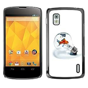 [Neutron-Star] Snap-on Series Teléfono Carcasa Funda Case Caso para LG Nexus 4 E960 [Bombilla Metáfora Goldfish minimalista Luz Blanca]