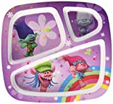 Zak! Designs 3 Section Plate Featuring Trolls Graphics, Break-resistant and BPA-free plastic