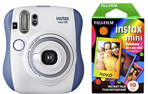 Fujifilm Instax Mini 26 + Rainbow Film Bundle – Blue/White