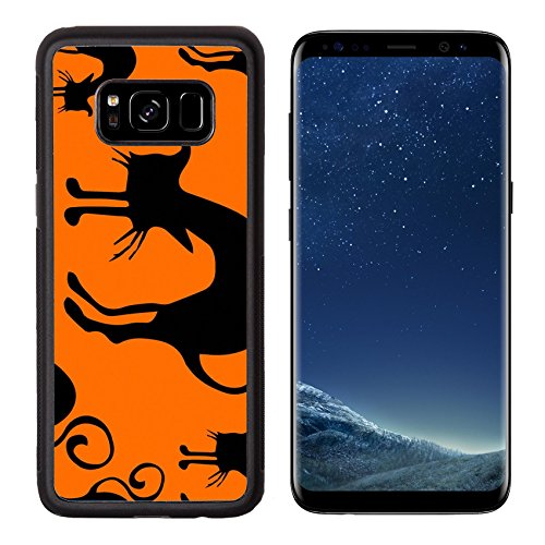Luxlady Premium Samsung Galaxy S8 Aluminum Backplate Bumper Snap Case IMAGE ID: 44082601 Halloween seamless pattern black and orange with cats hand drawn (Halloween Greetings Clipart)