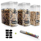 #6: Chef's Path Cereal Storage Container Set - 100% Airtight Best Dry Food Keepers - 8 FREE Chalkboard Labels & Pen - Great for Flour, Sugar & More - BPA Free Dispenser (16.9 Cup 135.2oz) 3-PC