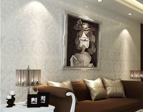 QIHANG Off-white European High-grade Three-dimensional Flocking Wallpaper Roll