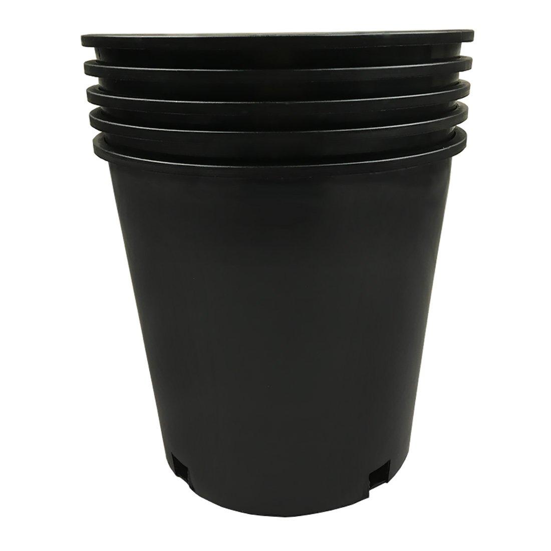 Calipots 5-Pack 2 Gallon Premium Black Plastic Nursery Plant Container Garden Planter Pots (2 Gallon)