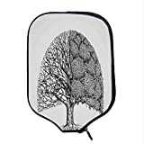 YOLIYANA Tree of Life Durable Racket Cover,Plant with Different Themes Leafless and Petals Symbol for Climate Change for Sandbeach,One Size