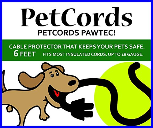 PETCORDS Mini- 2 Pack- 6ft Dog and Cat Cord Protector-Protects Your Pets from Chewing Through Charging Cables. Fits- iPhone, Android and Other USB Cables, Unscented, Odorless- 2 Pack ()