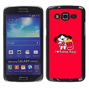 TopCaseStore / la caja del caucho duro de la cubierta de protección de la piel - Love Funny Junk Food Cartoon Red Heart - Samsung Galaxy Grand 2 SM-G7102 SM-G7105