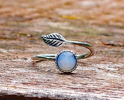 (Recycled Vintage White 1960's Cold Cream Jar Sterling Silver Leaf Botanical Collection Ring)