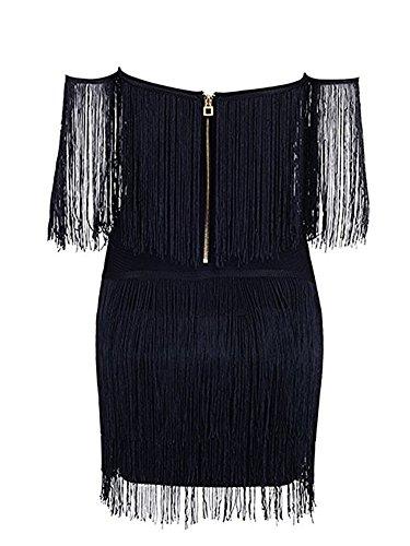 Épaule Femmes Benegreat Cou Sexy Voff Mini-robe De Bandage De Boîte De Nuit Avec Pompons Embelli Noir