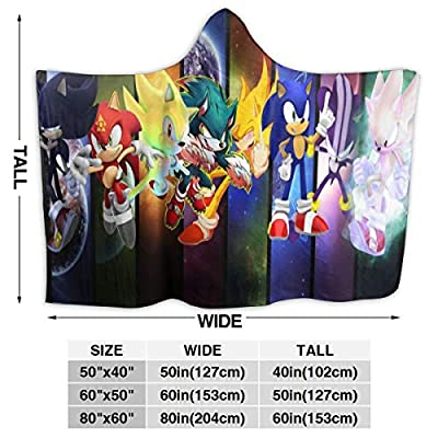 Putiancaijunkai Sonic The Hedgehog Blanket with Hat Bed Couch Soft Blanket Air Conditioning Blanket Throw Flannel Plush for Teens Kids: Kitchen & Dining