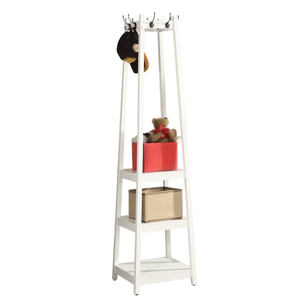 Solid wood coat rack / floor hanger / bedroom hanger / American hat rack / clothes rack / solid wood support / four storage 8 hooks (440 440 1815mm) ( Color : A )