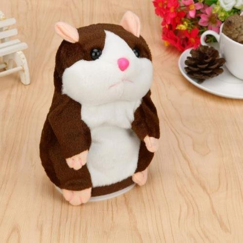 OWIKAR Talking Hamster Mouse Toy, Repeats What You Say And Can Walking Nod Head or Walk Electronic Pet Talking Plush Buddy Hamster Mouse for Child Kids gift (18 cm - Speak and Walk, Deep brown)