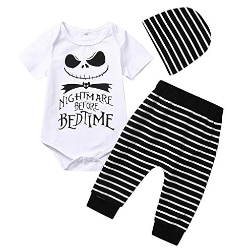 Newborn Toddler Infant Baby Girl Boy Halloween Clothes Autumn Winter Bone Tops+ Pants Headband Outfits Costume Set White