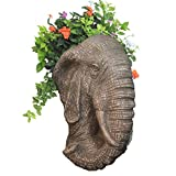 Homestyles 18 in. Graystone Elephant Muggly Mascot Animal Statue Planter Holds 8 in. Pot