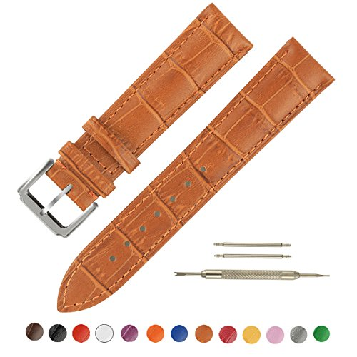 SIMCOLOR Leather Watch Band - Choice of Color & Width (16mm,18mm,20mm,22mm or24mm) Premium Genuine Cowhide Replacement Watch Strap for Men and Women(20mm,Light Brown)