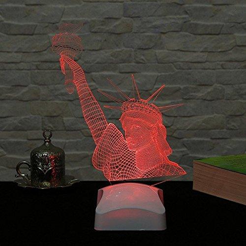 Hologram Table Lamp, Statue of Liberty, 100% Plexiglass, Size (7.1