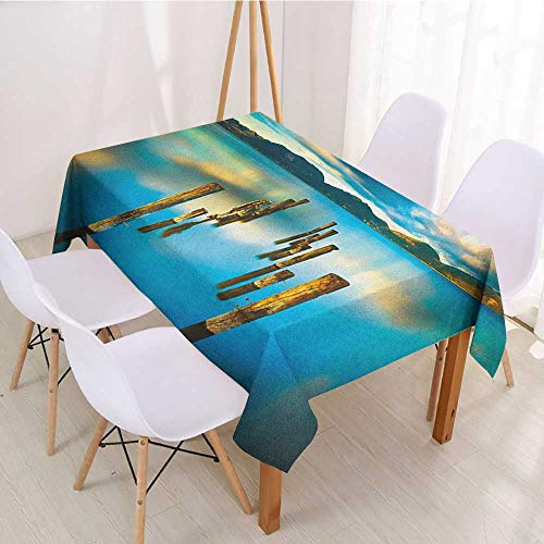 Wendell Joshua Resistant Table Cover Turquoise,Surreal Landscape with Wood Deck and Clouds in Sky Dreamlike Coastal Charm,Turquoise White,Dinner Kichen Home Decor 55