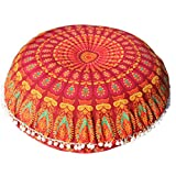 Feishe Large Mandala Pillow Case, Bohemian Meditation Pillow Covers Cushion Round Pillow Sham for Home, Office, Wedding, Party and Coffee Shop Decor (Orange, 80cm x 80cm/31.5'' x 31.5'')