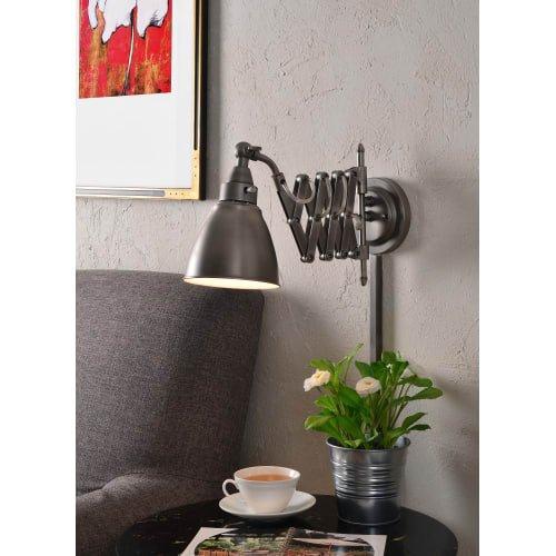Kenroy Home 32197ANI Floren Swing Arm Lamp, 23.0'' x 6.0'' x 10.0'', Antique Nickel