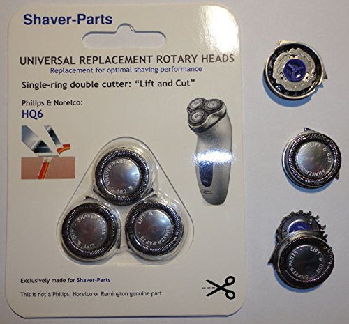 Norelco's compatible Shaving Heads HQ6 LIFT & CUT Alternative (Fits) for Norelco (Philips) Shavers Shaver-Parts 6669000650