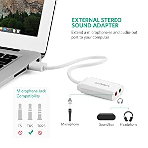 UGREEN USB Audio Adapter External Stereo Sound Card With 3.5mm Headphone And Microphone Jack For Windows, Mac, Linux, PC, Laptops, Desktops, PS4 (White)